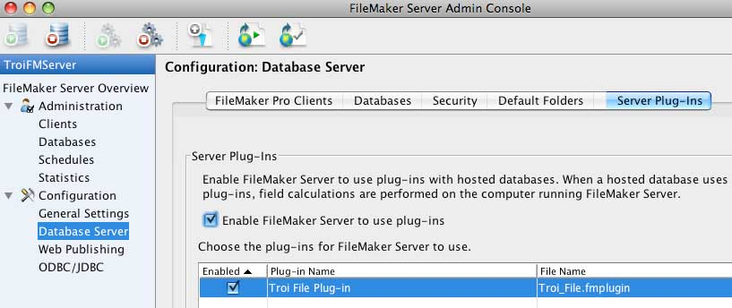 Enable Troi FileMaker plug-ins in FileMaker Server 9 admin console