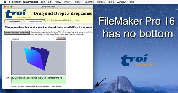 FileMaker Pro 16 with NO bottom status showing in drag-and-drop example