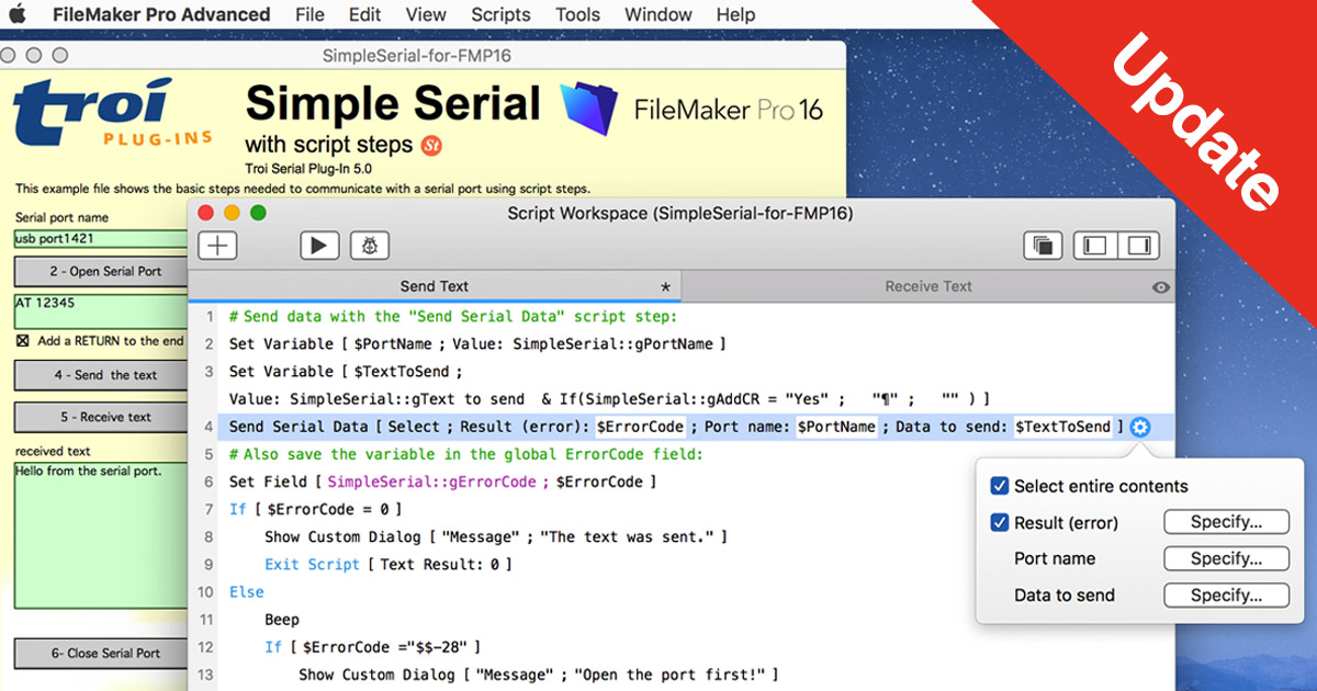 Troi Serial Plug-in for #FileMaker Pro 16: updated to 5.0.1