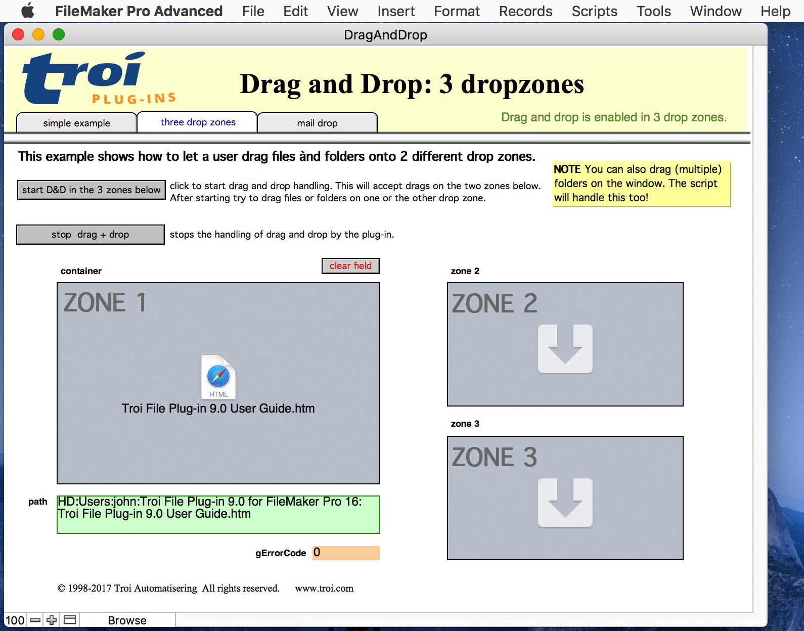 FileMaker Pro 15 with bottom status showing in drag-and-drop example