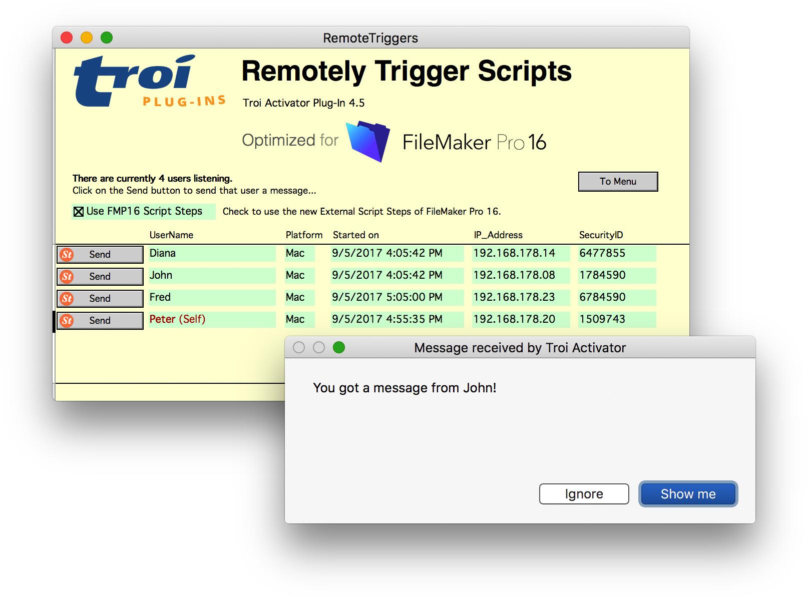 Activator Plug-in for FileMaker Pro 17: Trigger scripts (Remote Trigger)