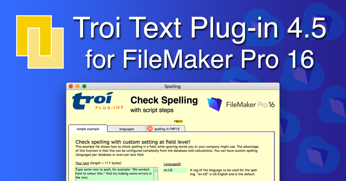 PR: Troi Text Plug-in 4 5 for FileMaker Pro 16 adds extra script steps