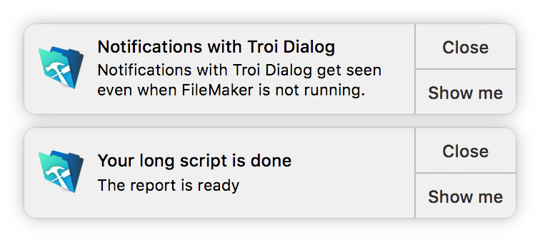 Notifications with Troi Dialog