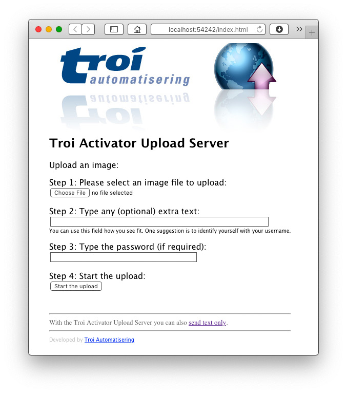 Activator Plug-in 5 for FileMaker Pro 17: Upload Server web page