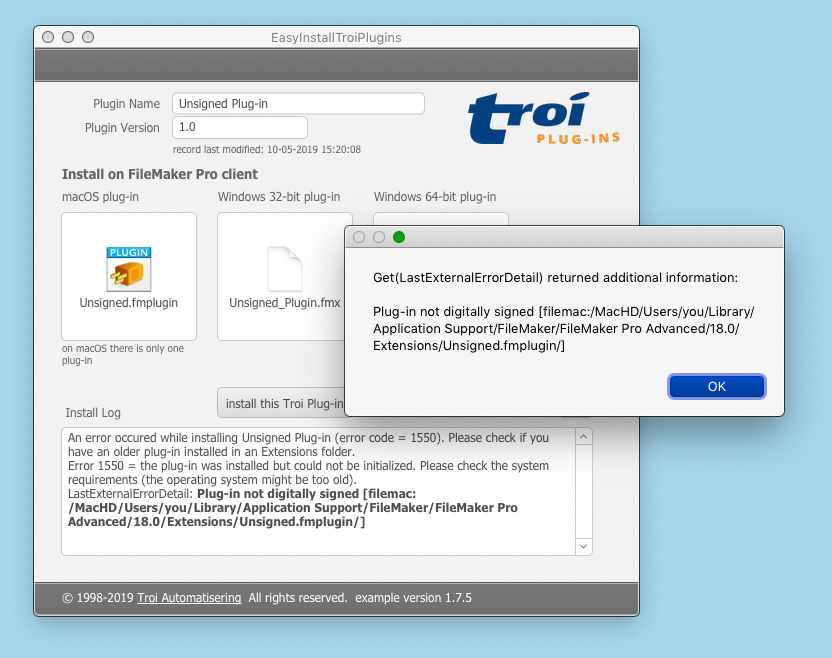 Easy Install Troi Plugins in FileMaker Pro with GetLastErrorDetail