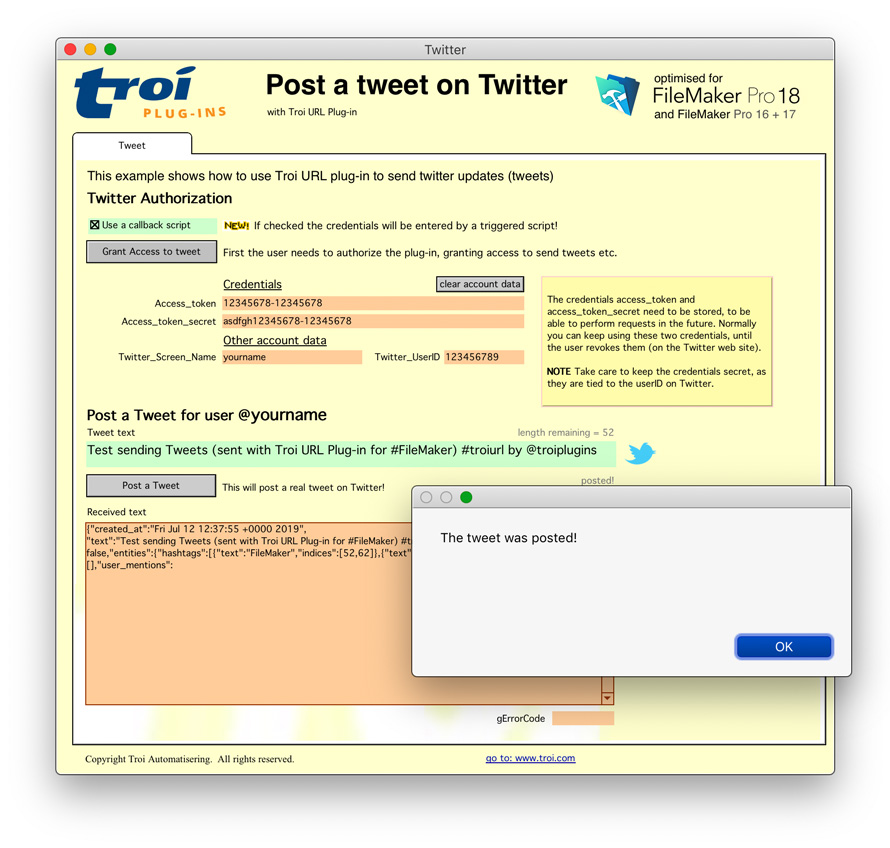 Tweet with Troi URL Plug-in