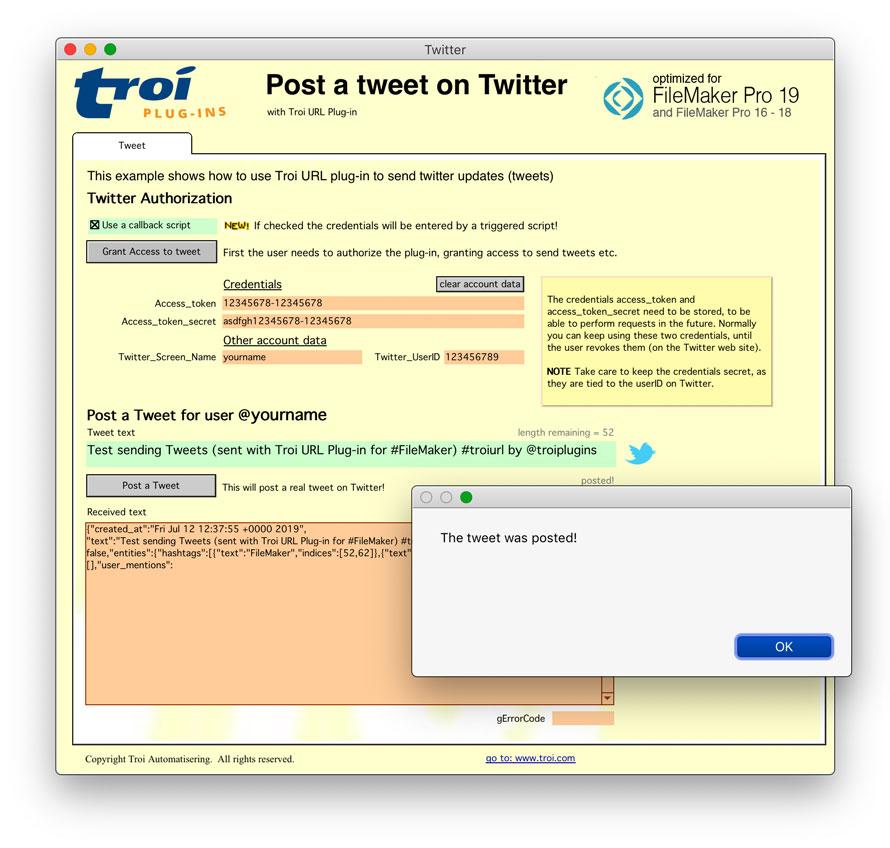 Tweet with Troi URL Plug-in