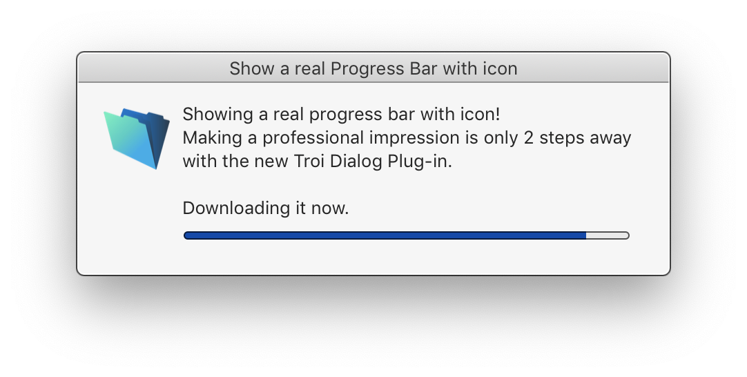 Add Progress Bar dialogs with icon to FileMaker Pro