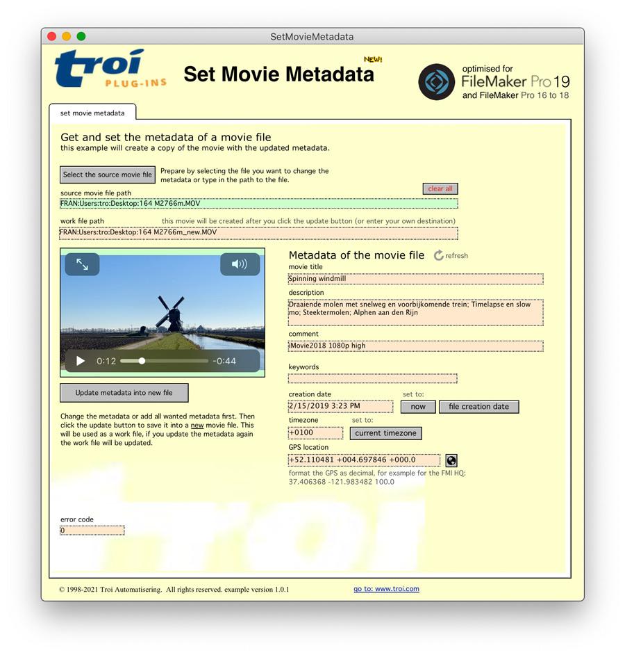 Set movie metadata with Troi File Plug-in