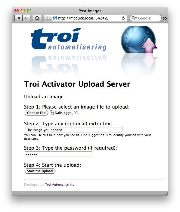 Image Upload Server seen from Safari