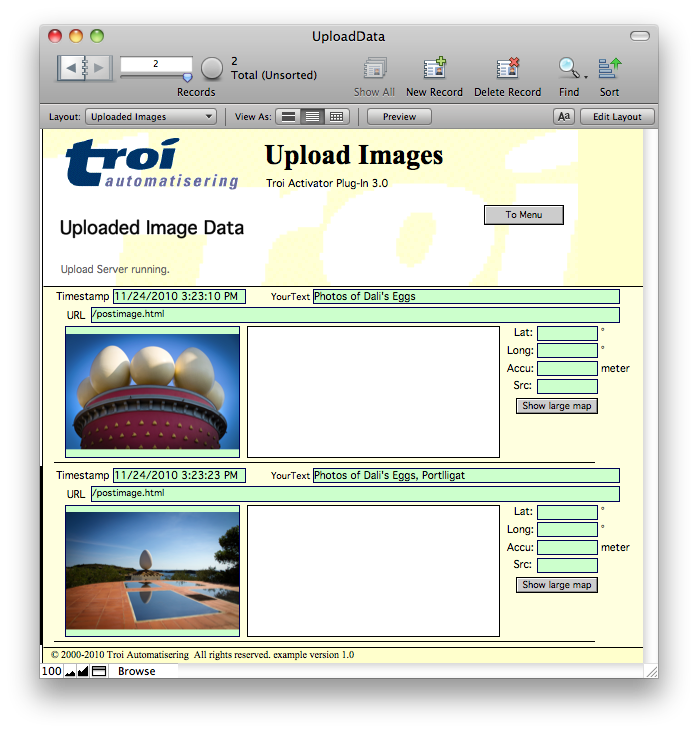 The result: images in FileMaker database (no GPS location data)