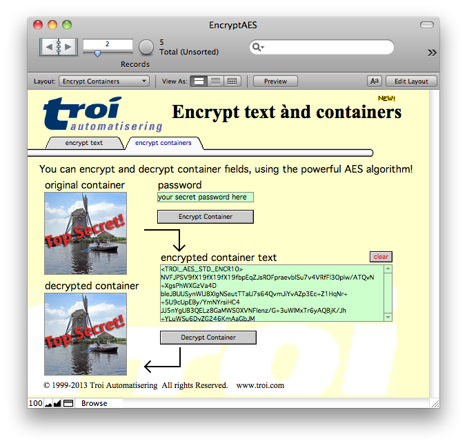 Troi Encryptor Plug-in for FileMaker Pro 14 to 17 - Encrypt FileMaker