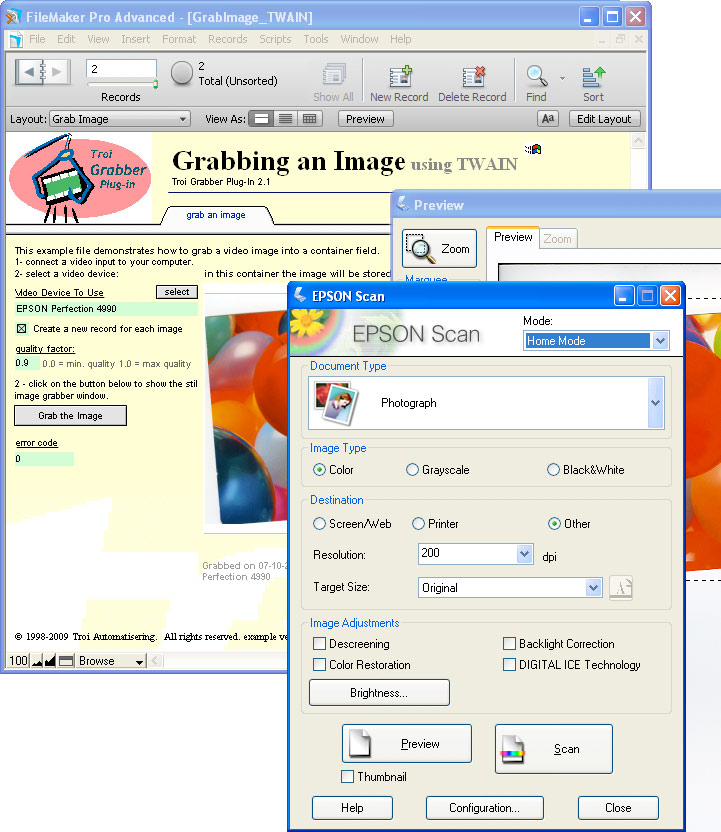 Troi Grabber Plug-in for FileMaker on Windows also can be used by TWAIN scanners.