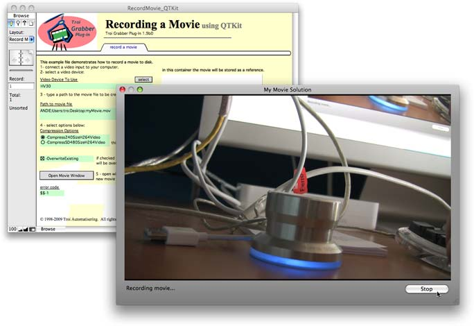 Grabber Window for recording movies directly from FileMaker Pro