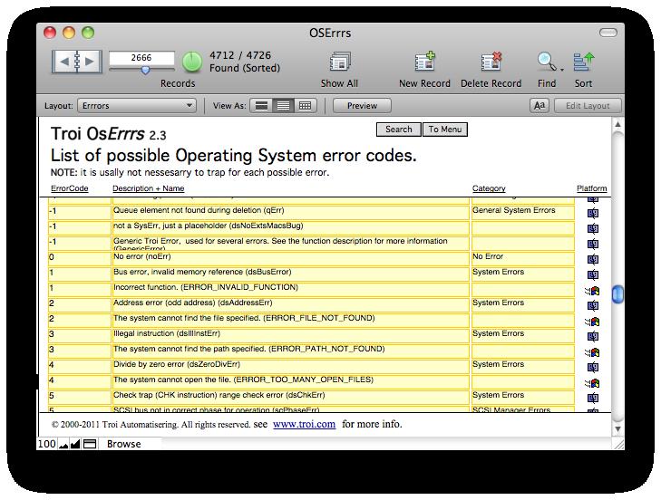 OSErrrs database