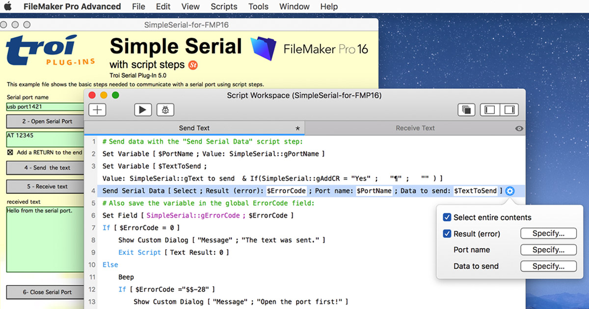 Troi Serial 5.0 for FileMaker Pro 16