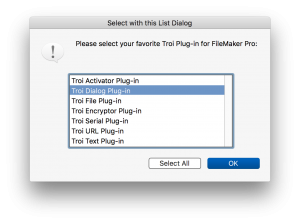 We released Troi Dialog Plug-in 6.5.1 for FileMaker Pro, which adds -ExtraLineHeight switch to the ListDialog function.