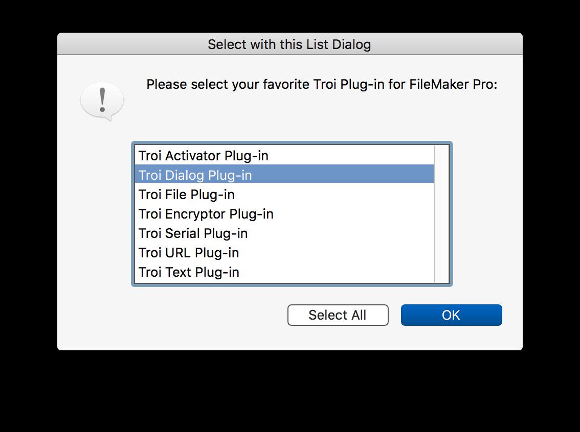 Troi Dialog Plug-in for FileMaker Pro 14 through 17